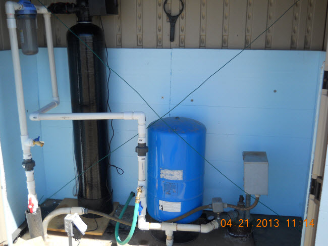 Sediment filter is installed after pressure tank