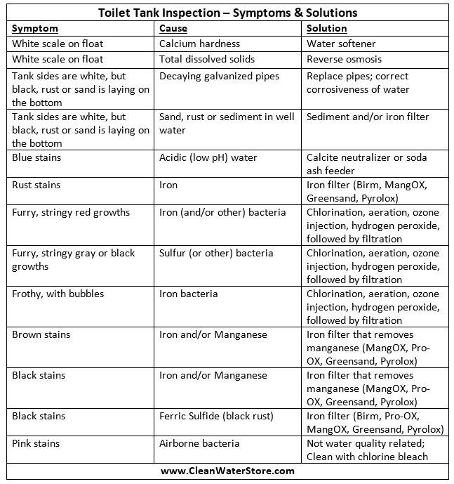 Toilet Tank Inspection - Symptoms & Solutions