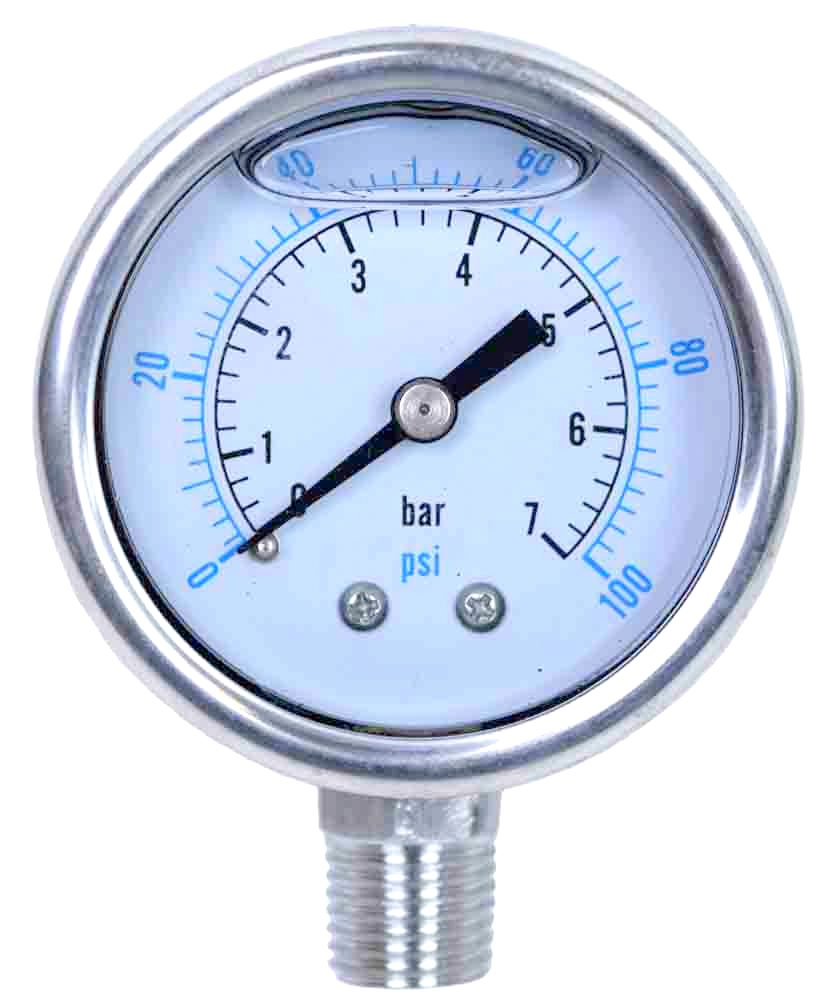 Liquid Filled Pressure Gauge: 0-100 PSI